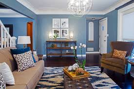 living room amazing paint colors for accent wall in teal painted blue geometric modern rug blue walls brown furniture