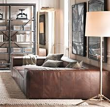 living room with bed: fulham leather daybed  fulham leather daybed