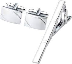 Zysta classic men's silver tie pin and cuff links set for weddings and ...