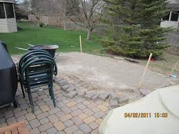 stone patio installation: as you can see i removed the original border it took about  tons of stone base i also rented a plate compactor for the weekend it only cost about