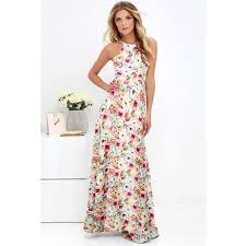 Anself <b>Sexy Women</b> Maxi Boho <b>Dress</b> Halter Neck <b>Floral</b> Print ...