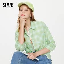 <b>SEMIR Plaid</b> Shirt Women Fake Two Piece <b>Blouse</b> Spring 2021 New ...
