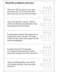 Subtraction word problem worksheets