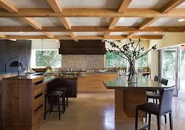 inspired kitchen cdab white brown: coffered exposed beams in ceiling over kitchen with double island