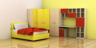 minimalist kids bedroom design featuring yellow leather upholstery full size bed and the surprising l shaped affordable affordable minimalist study room design
