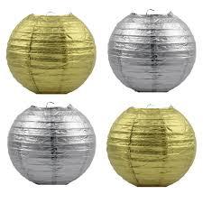<b>10pc 16inch</b> Metallic <b>Gold</b> Silver Chinese Paper Lanterns Party ...