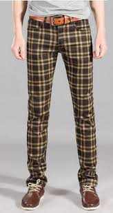 <b>Summer thin elastic</b> plaid casual pants Men elastic trousers slim ...