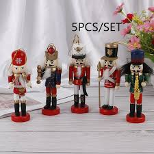 <b>1Set</b> 5pcs <b>12cm Wooden</b> Nutcracker Soldier Merry Christmas ...