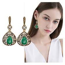 Earrings For Ladies, Luxury Vintage Boho Emerald ... - Amazon.com