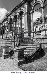 england style steps:  stone steps and balustrades converted to monochrome witley court worcestershire england uk