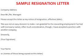 resignation letter outline  sample resignation letter template    sample resignation letter