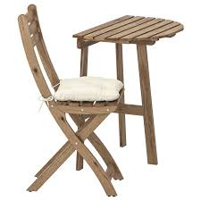 Купить АСКХОЛЬМЕН <b>Стол</b>+1 <b>складной стул</b>, для сада, серо ...