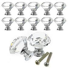 10pcs lot 30mm clear diamond shape crystal glass pull handle cupboard cabinet drawer door furniture knob freeshipping sj 1003