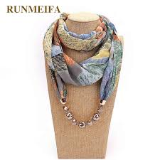 RUNMEIFA <b>Pendant Necklace Scarf</b> For Women Print <b>Chiffon</b> ...