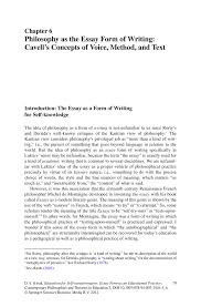 philosophy as the essay form of writing cavell s concepts of inside