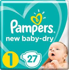 <b>Pampers Подгузники New</b> Baby-Dry 2-5 кг (размер 1) 27 шт ...