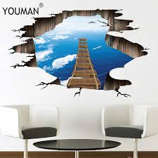 3d flooring wallpapers removable pvc self adhesive bridge photo wall papers stickers home decor for kids living room