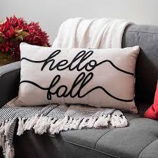 <b>Hello Fall</b> Embroidered Buffalo Check Accent Pillow | Kirklands