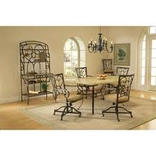 casual dining chairs with casters: brookside  piece dining set with caster chairs