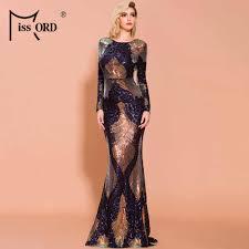 Missord 2020 <b>Sexy Off Shoulder</b> Feather LongSleeve Sequin <b>floor</b> ...