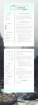 17 best images about resume design cover molly hammond two page cv template resume template jobsearch cv resume