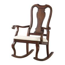 ACME Furniture  Sheim Rocking Chair Beige Fabric And Cherry Chairs