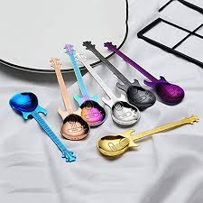 Peanutaoc Guitar Coffee Spoon Set <b>Stainless Steel Dessert Ice</b> ...