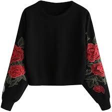Red Ta Women <b>Autumn Long Sleeve</b> Rose Applique Crop Top ...