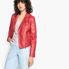 <b>Блузон</b> кожаный в байкерском стиле красный малиновый <b>La</b> ...