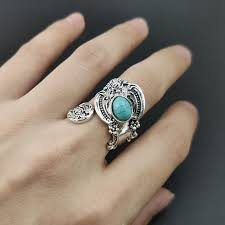 Retro Ancient Oval Blue Stone Ring Bague Bohemian Turquoises ...