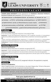 job vacancy in lahore leads university 2nd 2015