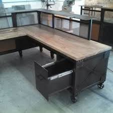 custom reception desk l shaped desk steel and beetle kill pine desk reclaimed build industrial furniture