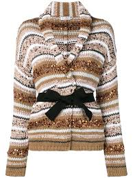 Sequined Striped Belted <b>Cardigan</b> In Neutrals | Knit cardi, Chunky ...