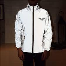 <b>Men</b> jacket casual hiphop windbreaker reflective jacket <b>tide</b> brand ...