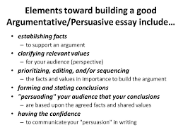 argumentative  persuasive essay lecture    recap how to write a    elements toward building a good argumentative persuasive essay include… establishing facts – to support