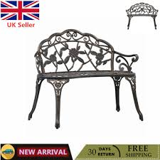 Garden <b>Bistro Bench</b> Bronze Cast Aluminium Outdoor Patio Seating ...