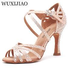 WUXIJIAO Women Party <b>Dance</b> Shoes Satin Shining <b>rhinestones</b> ...