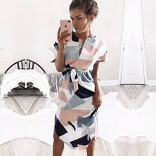 <b>2018 Hot Sale Women</b> Midi Party Dresses Geometric Print Summer ...