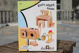 baby wooden doll house toyskids child utily romm with sewing machine vacuum cleaner brand baby wooden doll house