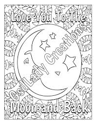 Small Picture Love You To The Moon and Back Coloring Page Mandala Adult Coloring