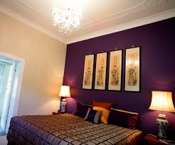 awesome purple white wood glass unique design painting wall bedroom ideas purple wall cover bed night