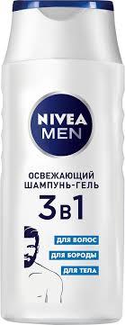 Nivea 3в1 <b>Освежающий Шампунь</b>-гель, для волос, бороды и тела ...