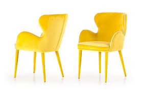 Modrest Tigard Modern <b>Yellow Fabric Dining Chair</b>