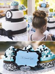 Breakfast at Tiffany themed party food, bridal shower ,cupcakes, black, white and tiffany blue, with black bows, and pearls and ribbons
