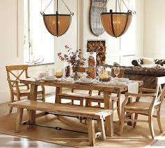 pottery barn style dining table: benchwright reclaimed wood fixed dining table wax pine finish pottery barn