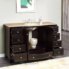 bathroom vanity 60 inch:  silkroad  inch single bathroom vanity travertine top