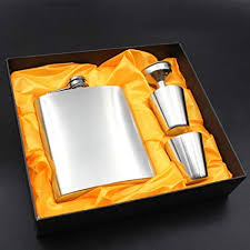8oz <b>Hip Flask Set</b> with Funnel & <b>Shot</b> Cups Stainless Steel Leather ...