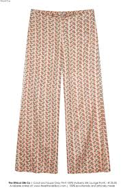<b>Mulberry Silk</b> Lounge <b>Pants</b> - Coral/Grey — The Ethical Silk Company