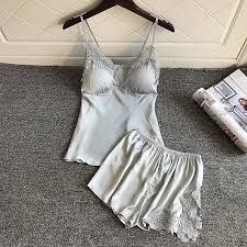 <b>BZEL Sleep Lounge Pajama</b> Set Sexy Satin Sleepwear Women ...