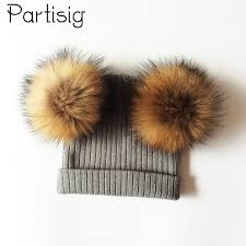 <b>Baby Hat Natural Raccoon</b> Fur Baby Cap Two Pompom Kids Caps ...
